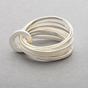 Ripple multi ring silver