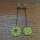 mis-match green dangle earrings