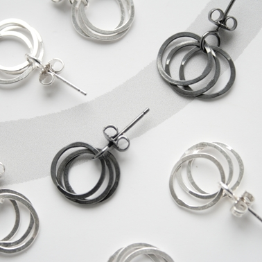 Oxidised silver 3 loop earrings