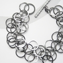 3 loop bracelet, oxidised silver