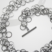 Oxidised silver 3 loop necklace
