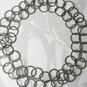 Long oxidised silver flat loop necklace