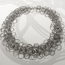 Oxidised silver multi-loop necklace, medium loop