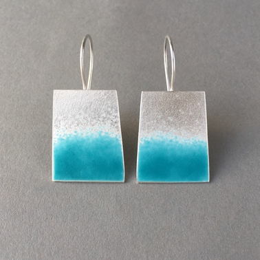 Deep Turquoise trapezium earrings
