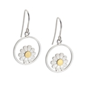Daisy and circle drop earrings