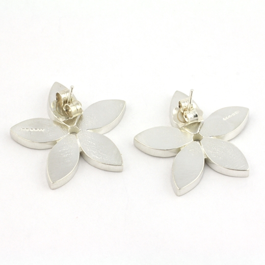 silver flower stud earrings-back view