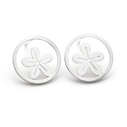 Small Silver Circle and Flower Earrings