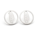 Small Silver Circle and Leaf Earrings