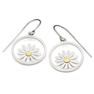 Silver and gold aster earrings