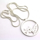 Round Silver Leaf and Flower Pendant