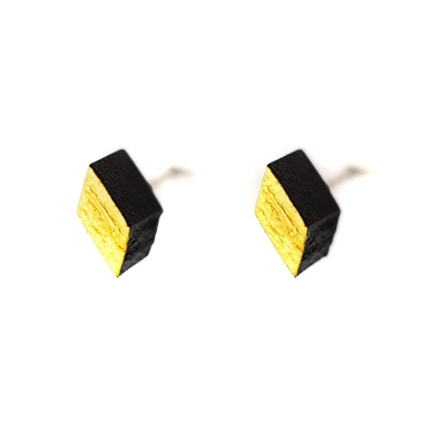 Diamond Studs - Black & Gold