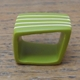 green square ring with nude stripes