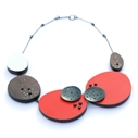 Red asymmetrical dot necklace