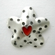 Dotty daisy earrings with red hearts,detail