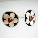 Dotty cup earrings with red heart daisies
