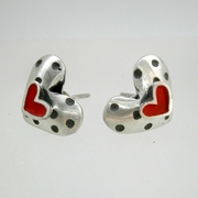 Dotty heart earrings with red hearts