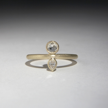 gold ring with two diamonds contemporary rings by