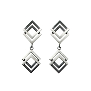 Double Geom Drop Earrings Oxi/Silver