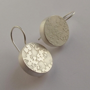 Silver drop etched earrings