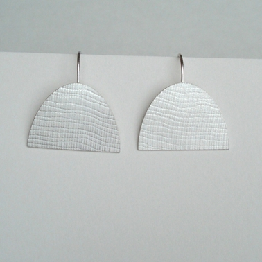 Silver large half oval earring