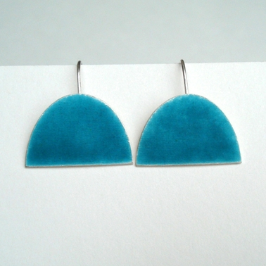 Deep Turquoise large half oval earring