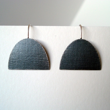 Oxidised large half oval earring