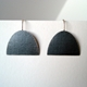 Large half oval oxidised earring