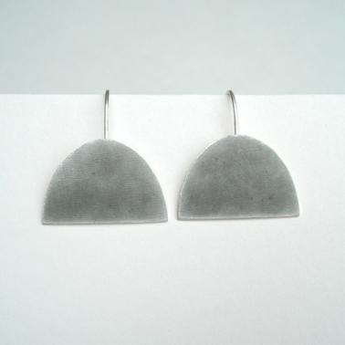 Violet grey large half oval earring