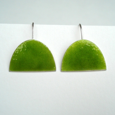 Green large half oval earring