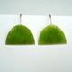 Green large half oval earrings