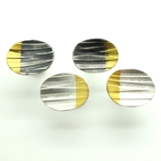 Lined Oval Studs, Clean and Oxidised Finish