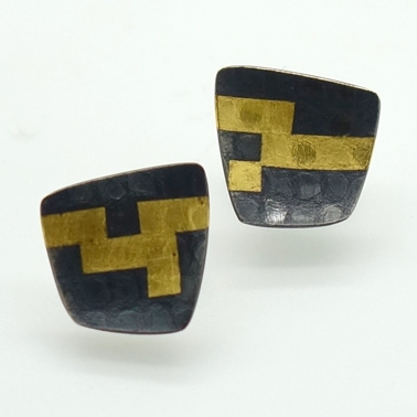 Large Black Damask studs