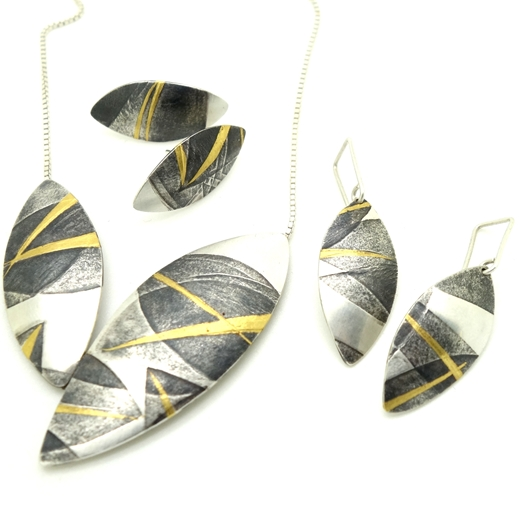 Layered leaves pendant and earrings