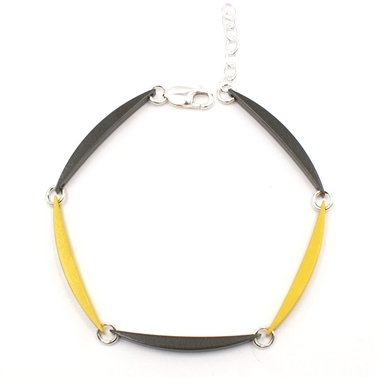 Grey & Yellow 5 Luna Link Bracelet