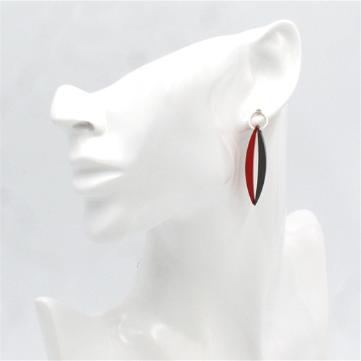 Graphite & Red Double Short Luna Studs