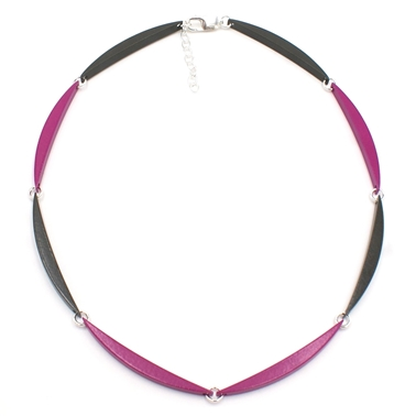 Magenta & Grey 8 Link Necklace