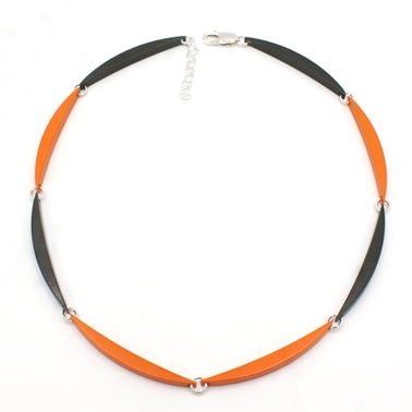 Tangerine & Graphite Luna Link Necklace