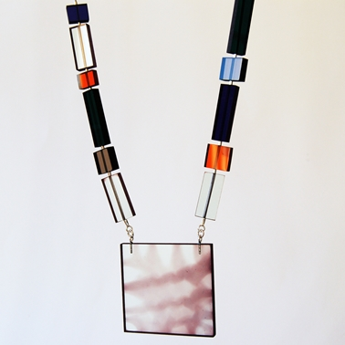 glass colour cubist necklace