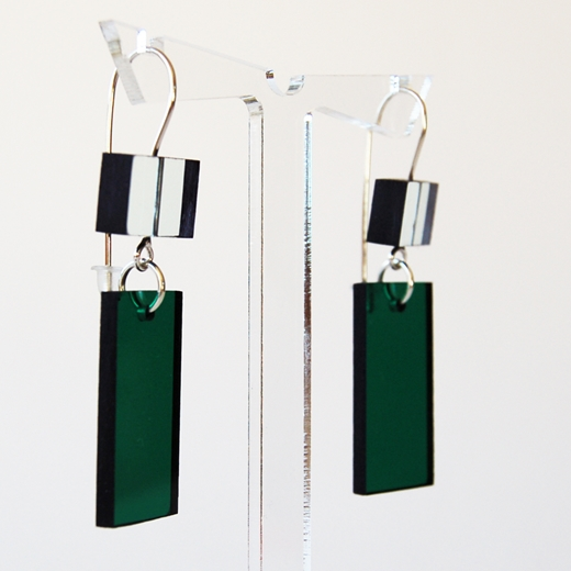 glass and green construction earrings 17 side