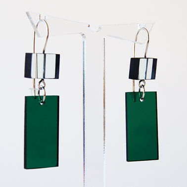glass and green construction earrings 17