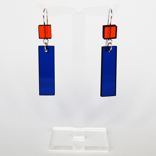 orange and blue construction 7 earrings