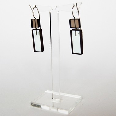 grey and glass construction earrings