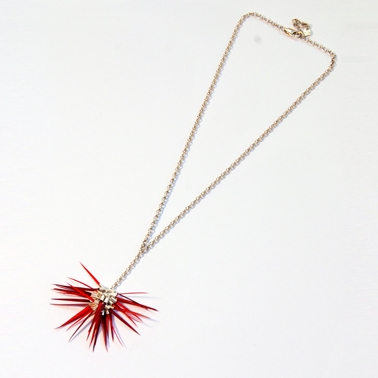 Mixed Reds Single Pom Pom Necklace