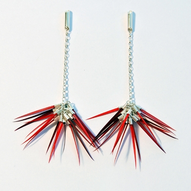 Pom Pom Earrings in Mixed Reds