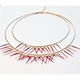 Double Small Short Fringe Necklace in Mixed Reds