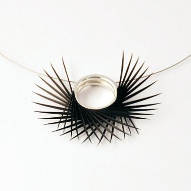 Black Spiky Double U Pendant