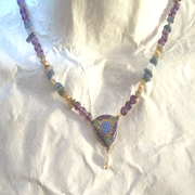 Necklace Kaleidoscope Drop  Purple, Blue, Green