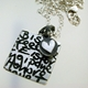Square Writing Pendant with Circle & Heart