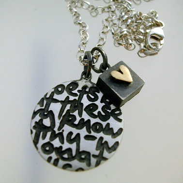 Round Writing Pendant with square & heart