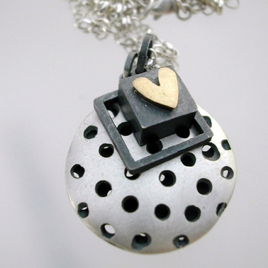 Round Dotty Pillow Pendant with Chunky Square